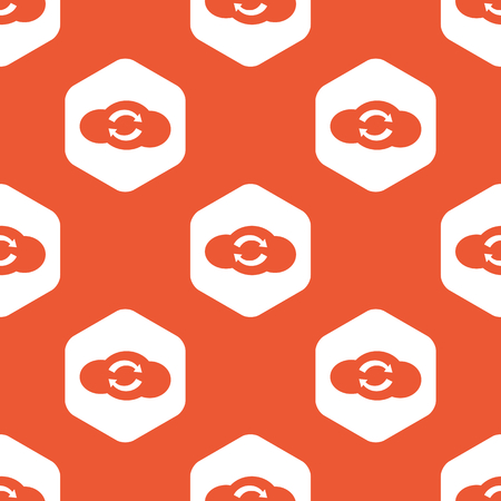data synchronization: Image of cloud with exchange symbol in white hexagon, repeated on orange background