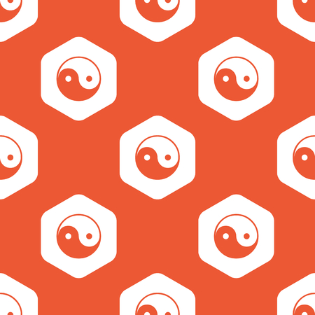 Image of ying yang symbol in white hexagon, repeated on orange background