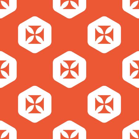 maltese: Image of maltese cross in white hexagon, repeated on orange background