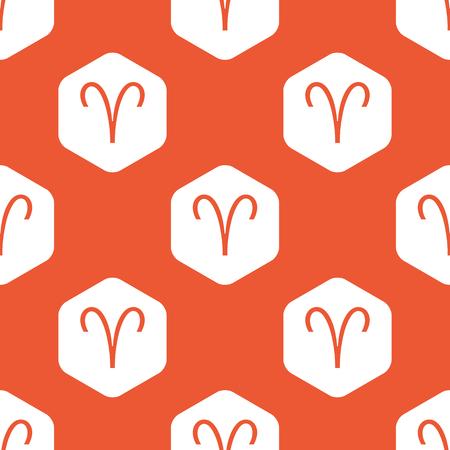 aries zodiac: Image of Aries zodiac symbol in white hexagon, repeated on orange background