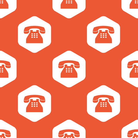 old phone: Image of old phone in white hexagon, repeated on orange background Illustration