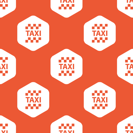 repeated: Image of taxi   in white hexagon, repeated on orange background