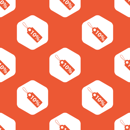 cost reduction: String tag with 10 percent discount in white hexagon, repeated on orange background