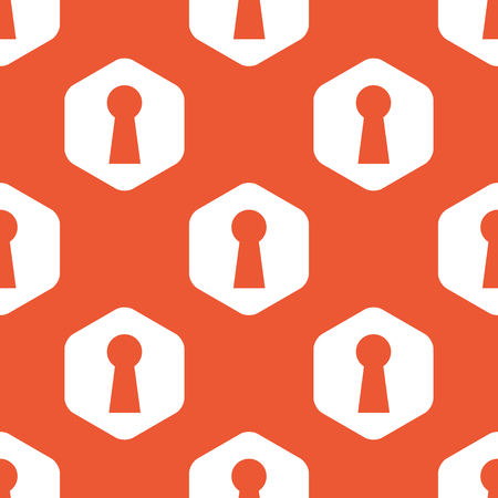 chink: Image of keyhole in white hexagon, repeated on orange background
