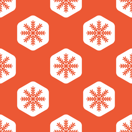 repeated: Image of snowflake in white hexagon, repeated on orange background
