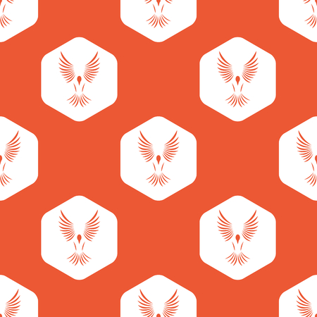 span: Image of flying bird in white hexagon, repeated on orange background