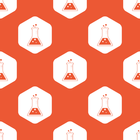 reagents: Image of conical flask in white hexagon, repeated on orange background
