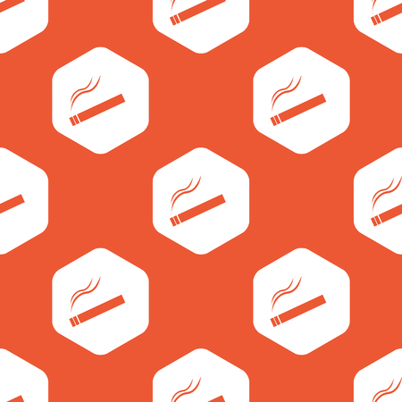 cigar shape: Image of burning cigarette in white hexagon, repeated on orange background Illustration