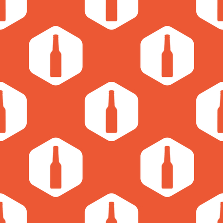 repeated: Image of bottle in white hexagon, repeated on orange background Illustration