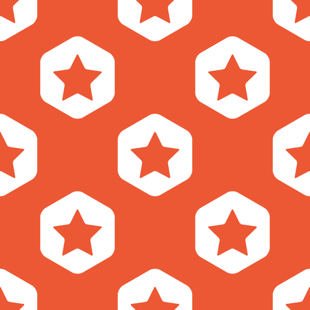 ideogram: Image of star in white hexagon, repeated on orange background Illustration