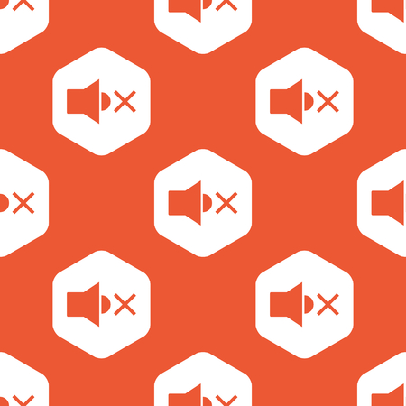 muted: Image of muted loudspeaker in white hexagon, repeated on orange background