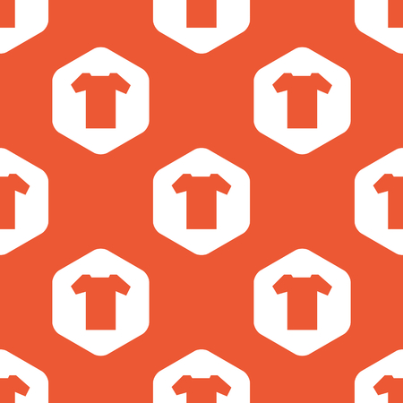 repeated: Image of T-shirt in white hexagon, repeated on orange background