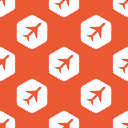 repeated: Image of plane in white hexagon, repeated on orange background