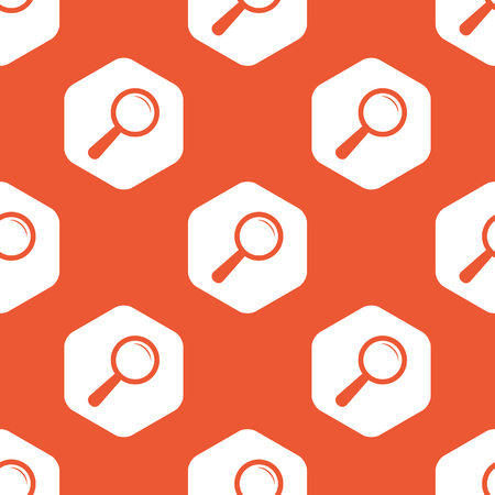 repeated: Image of magnifier in white hexagon, repeated on orange background Illustration