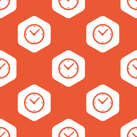 repeated: Image of clock in white hexagon, repeated on orange background