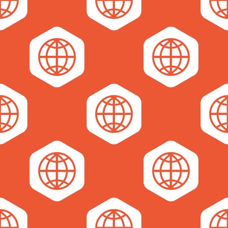 world  hexagon: Image of globe in white hexagon, repeated on orange background