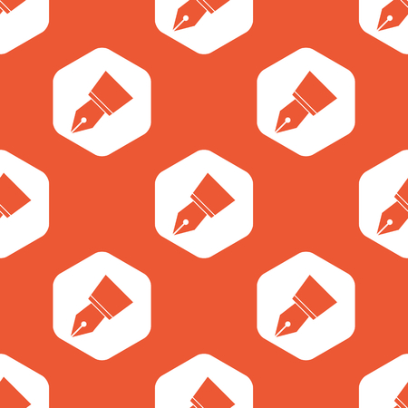 nib: Image of ink pen nib in white hexagon, repeated on orange background Illustration