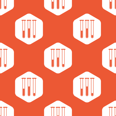 reagents: Image of three test-tubes in white hexagon, repeated on orange background
