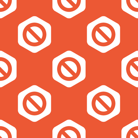 veto: Image of NO sign in white hexagon, repeated on orange background Illustration