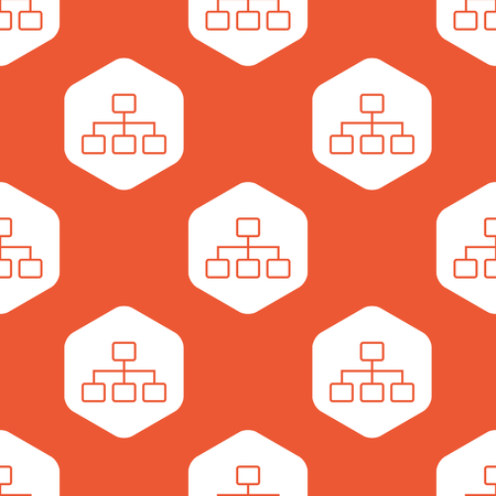 repeated: Image of scheme in white hexagon, repeated on orange background Illustration