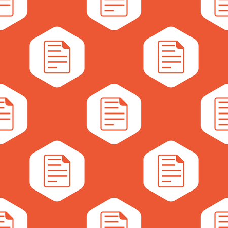 article writing: Image of document page in white hexagon, repeated on orange background Illustration