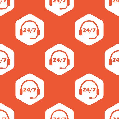 オレンジ色の背景で繰り返されるヘッドセットと白い六角形の 7 あたりテキスト 24