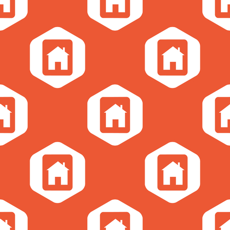 housetop: Tablet with house image in white hexagon, repeated on orange background