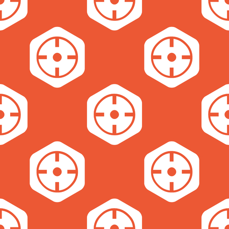 repeated: Image of target in white hexagon, repeated on orange background