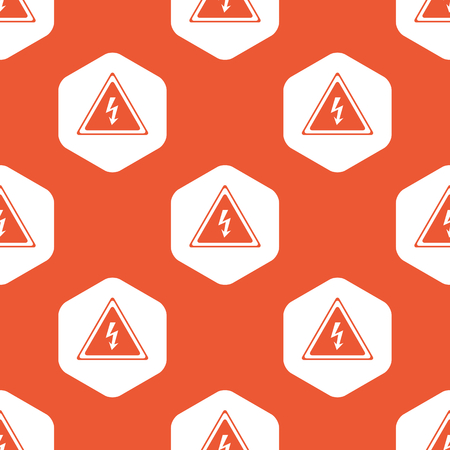 voltage sign: Image of high voltage sign in white hexagon, repeated on orange background