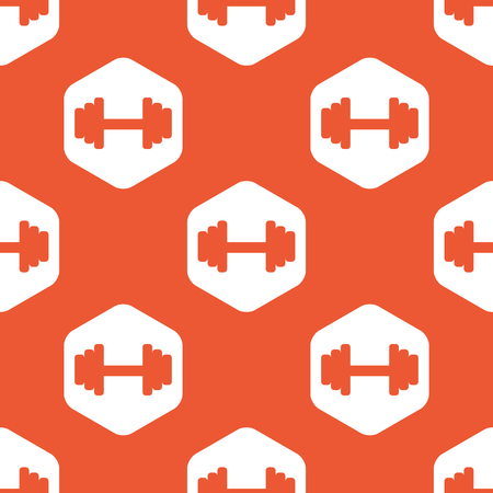 repeated: Image of barbell in white hexagon, repeated on orange background Illustration