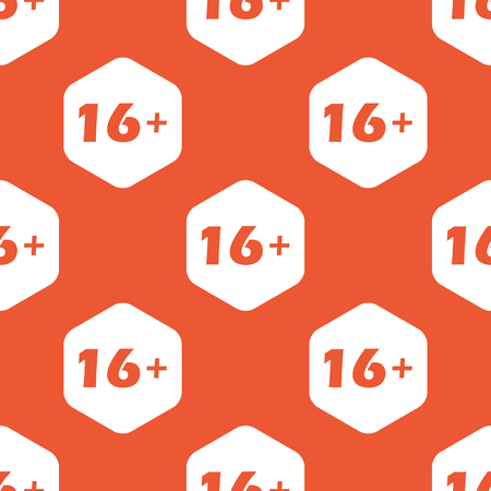 censorship: Text 16 plus in white hexagon, repeated on orange background Illustration
