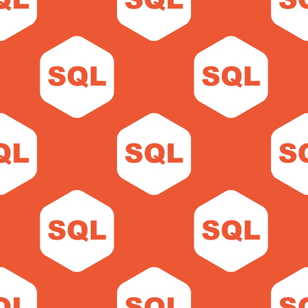 Text SQL in white hexagon, repeated on orange background