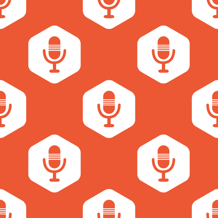 repeated: Image of microphone in white hexagon, repeated on orange background