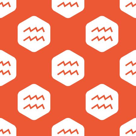 Image of Aquarius zodiac symbol in white hexagon, repeated on orange background