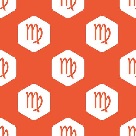 ecliptic: Image of Virgo zodiac symbol in white hexagon, repeated on orange background