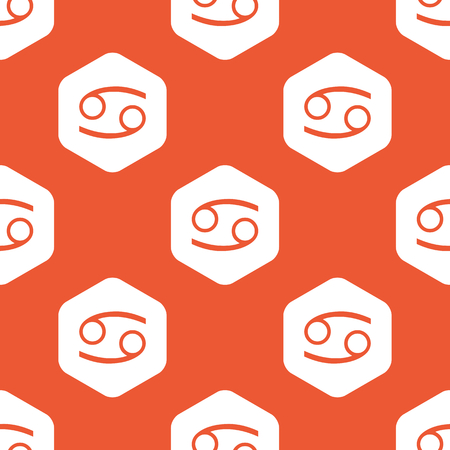 cancer zodiac: Image of Cancer zodiac symbol in white hexagon, repeated on orange background Illustration