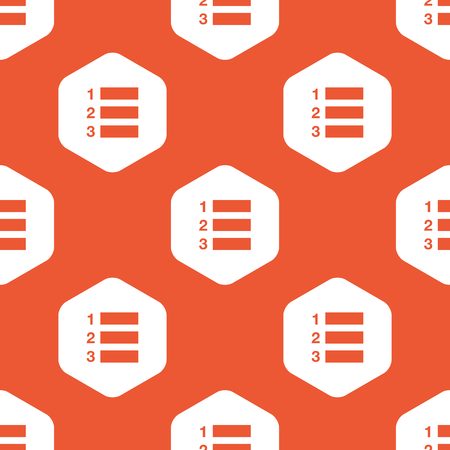 enumerated: Image of numbered list in white hexagon, repeated on orange background