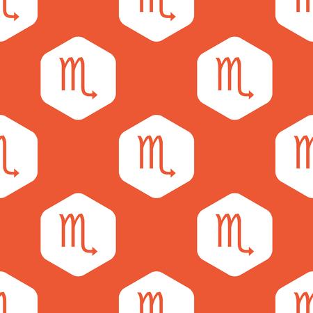 ecliptic: Image of Scorpio zodiac symbol in white hexagon, repeated on orange background