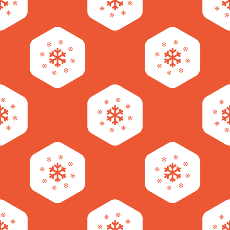 repeated: Image of snowflakes in white hexagon, repeated on orange background
