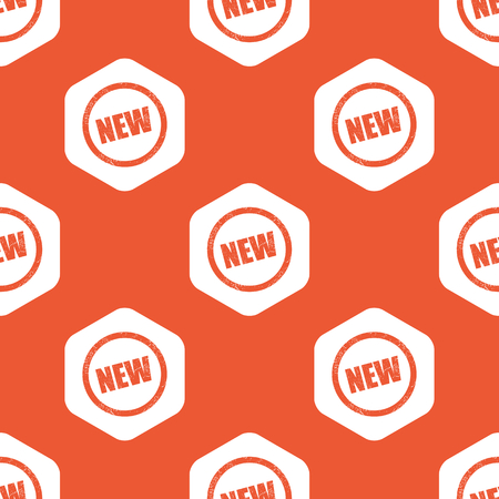 newness: Text NEW in circle, in white hexagon, repeated on orange background