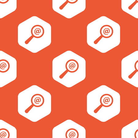 microblog: Image of at-sign under loupe in white hexagon, repeated on orange background