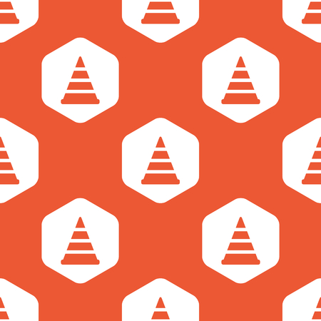 Image of traffic cone in white hexagon, repeated on orange background