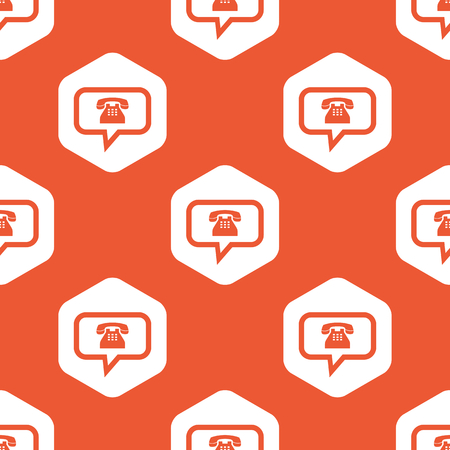 intercourse: Image of chat bubble with phone in white hexagon, repeated on orange background