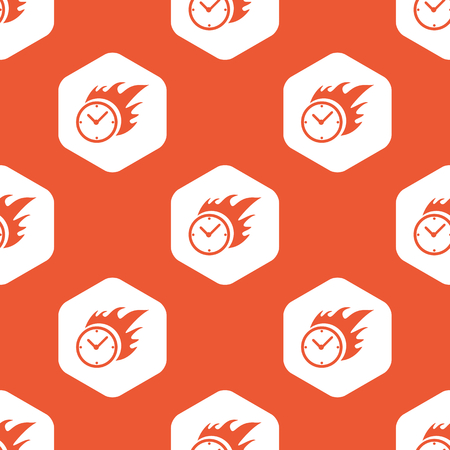 bounds: Image of burning clock in white hexagon, repeated on orange background
