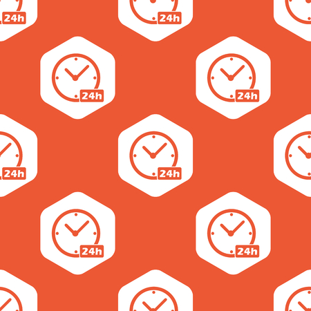 twenty four hours: Image of clock with text 24h in white hexagon, repeated on orange background