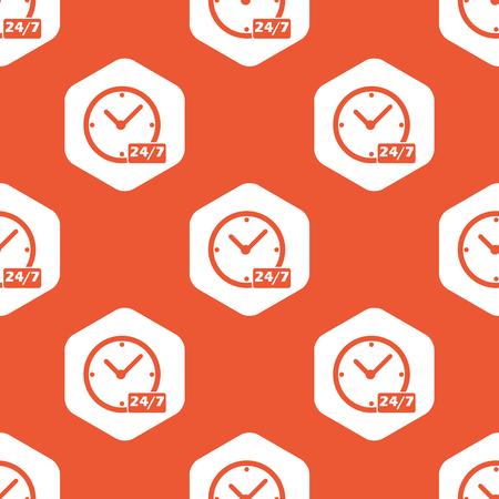オレンジ色の背景で繰り返される白い六角形、7 あたり本文 24 クロックします。  イラスト・ベクター素材