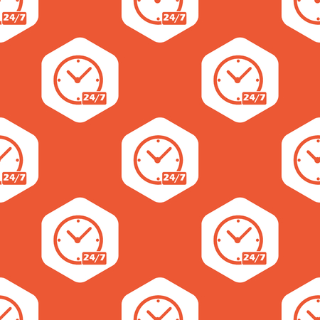 overnight: Clock with text 24 per 7 in white hexagon, repeated on orange background Illustration