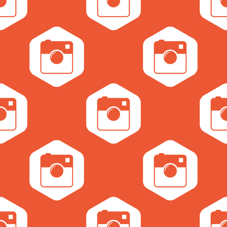 microblog: Image of square camera in white hexagon, repeated on orange background