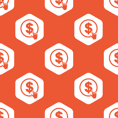 clicking: Image of hand cursor clicking on dollar in white hexagon, repeated on orange background