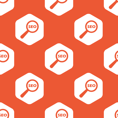 nuance: Text SEO under loupe in white hexagon, repeated on orange background